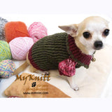 Burgundy Olive Cotton Knitted Dog Sweater DK865 by Myknitt (2)