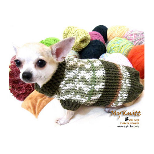 Green Army Warm Knitted Sweater Chihuahua Yorkie Poodle DK866