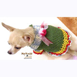 Unique Crocheted Chihuahua Sweater Ruffled Dress DK867 by Myknitt (1)