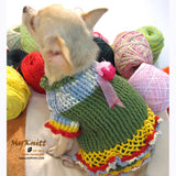 Unique Crocheted Chihuahua Sweater Ruffled Dress DK867 by Myknitt (2)