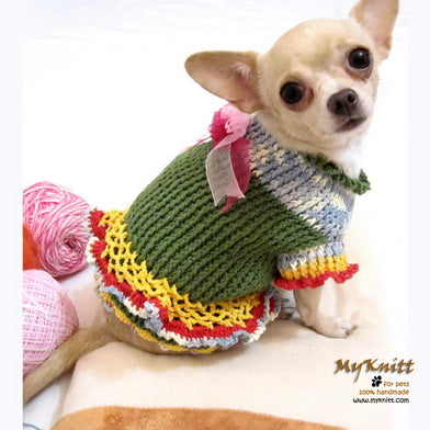 Unique Crocheted Chihuahua Sweater Ruffled Dress DK867