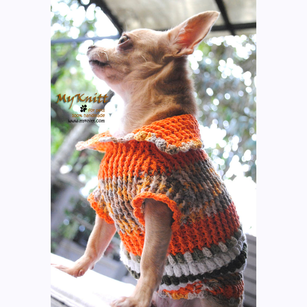Puffy Orange Olive Knitted Chihuahua Sweater DK868