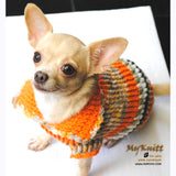 Puffy Orange Olive Knitted Chihuahua Sweater DK868 by Myknitt (3)