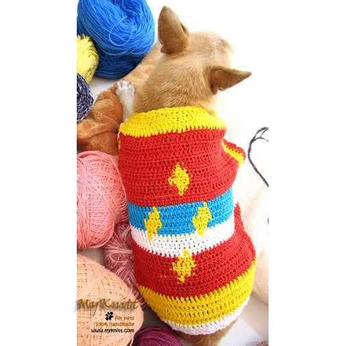 Colorful Diamond Unique Crocheted Dog Sweater DK869
