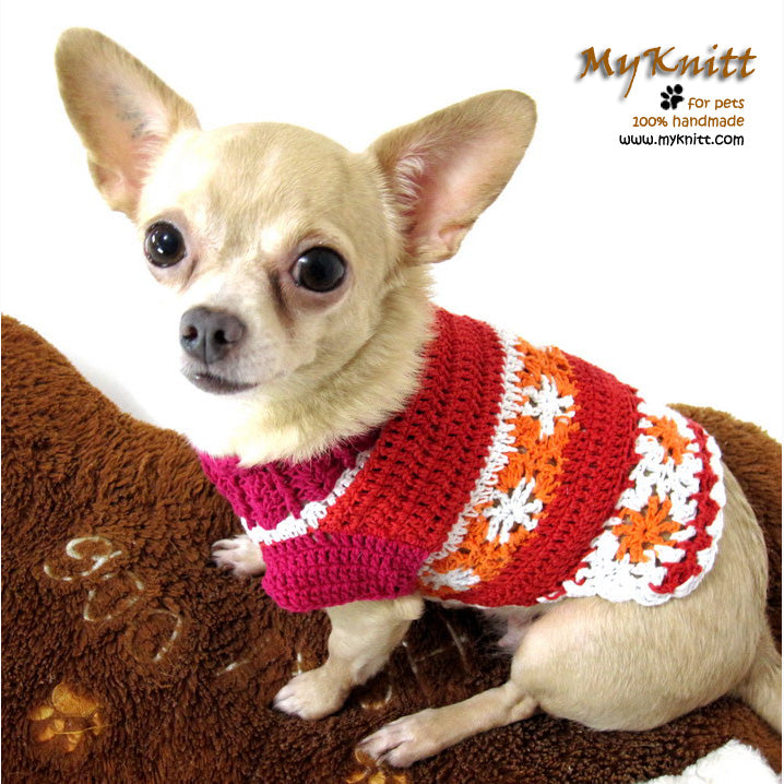 Girl Dog Clothes, Dog Flower Dress, Chihuahua Clothes DK871 by Myknitt