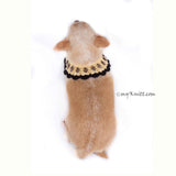 Boho Dog Necklace with Black Rhinestones Accessories DN17 by Myknitt (4)