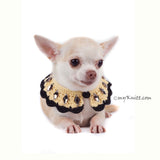 Boho Dog Necklace with Black Rhinestones Accessories DN17 by Myknitt (3)