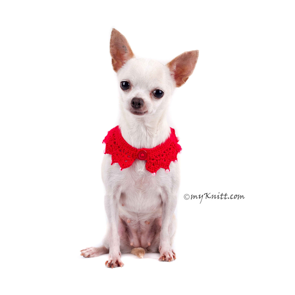 Sexy Dog Necklace Red Pet Scarf with Pearls DN18