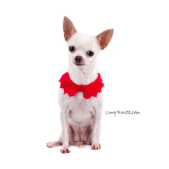 Sexy Dog Necklace Red Pet Scarf with Pearls DN18 by Myknitt