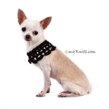 Black Elegant Dog Shawl Pet Collar Handmade Crocheted with Crystal DN19 by Myknitt (2)