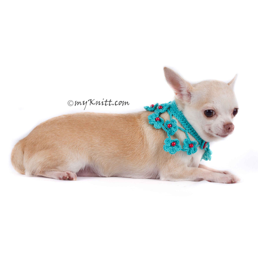 Turquoise Dog Shawl Unique Crocheted Pet Scarf with Pearls DN20