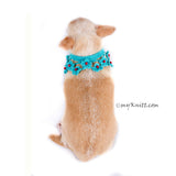 Turquoise Dog Shawl Unique Crocheted Pet Scarf with Pearls DN20 by Myknitt (3)