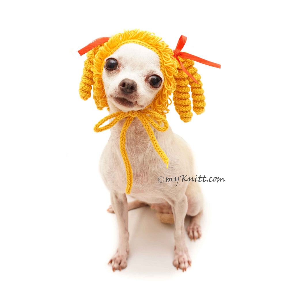 Marie Antoinette Wig Costume, Pig Tail Dog Wig Crochet, Custom Dog Hat Crochet DW1
