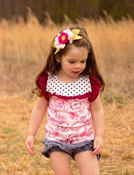 New! Camille Stretch Knit Top for Girls, Flutter or Long Sleeves PDF Sewing Pattern