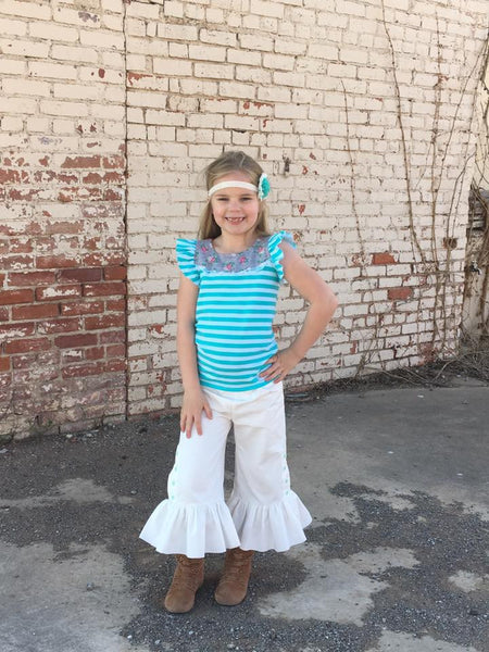 New! Marley Button Up Girls Ruffle Pants  Full Length or Capri PDF Sewing Pattern