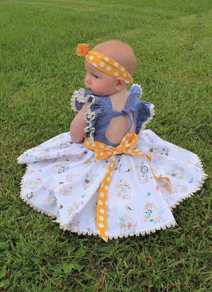 New! Clementine Vintage Style Dress with Extended Flutter Sleeves PDF Sewing Pattern