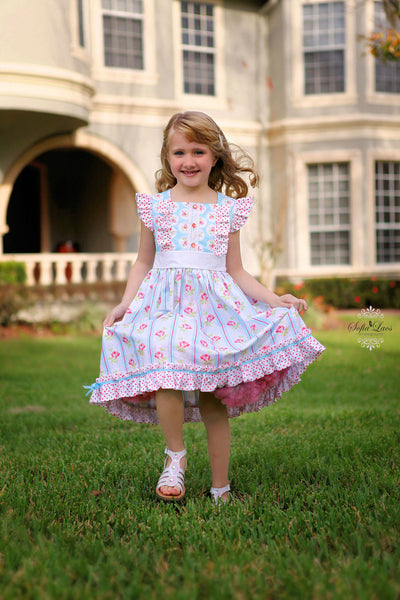 Francine Flutter or Flared Sleeve Girls Dress PDF Sewing Pattern