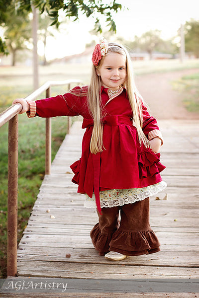 Jessamine Girls Ruffle Back Coat w/ Hood or Collar PDF Sewing Patttern