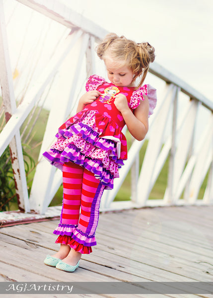 Lucky Penny Knit Ruffled Flutter Top Girls PDF Sewing Pattern