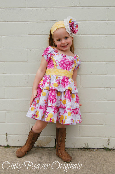 New! Buttercream Icing Girls Triple Ruffle Princess Dress & Headband PDF Sewing Pattern