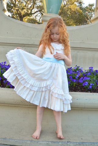 Lily Mae Swooping Ruffle Girls Dress PDF Sewing Pattern