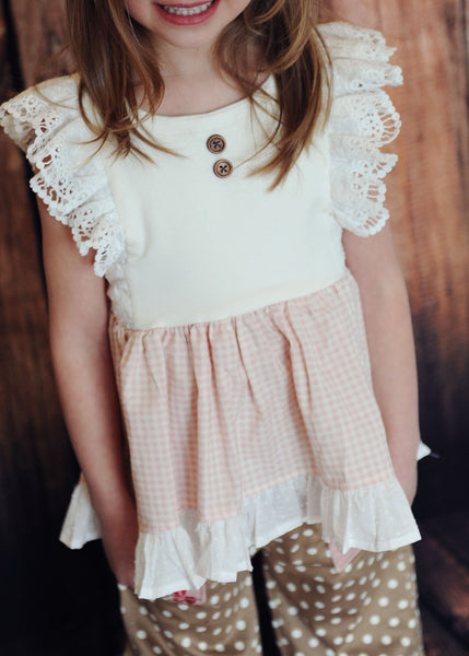 Buttercup High Low Knit Flutter Top Girls PDF Sewing Pattern