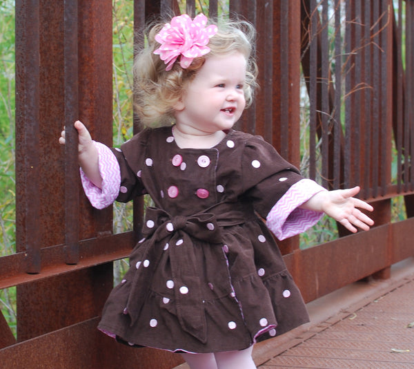 Pink Thistle Double Breasted Tiered Girls Coat PDF Sewing Pattern