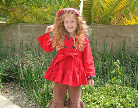 Pink Thistle Double Breasted Tiered Girls Coat PDF Sewing Patttern
