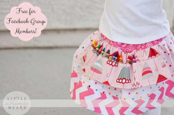 Little Artista Girls Drop Waist Crayon Apron Skirt PDF Sewing Pattern & Tutorial