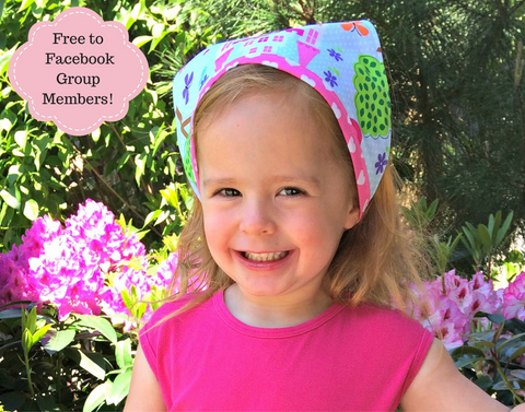 Gardener's Helper Girls Hair Bandana Kercheif Easy PDF Sewing Pattern