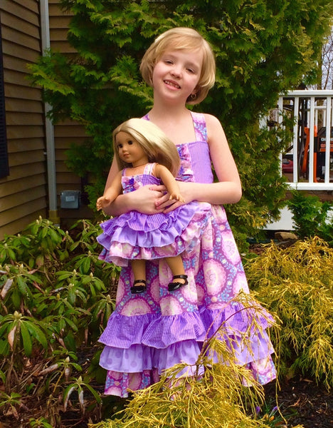 Sasha Reverse Knot Triple Ruffle Girls Dress PDF Sewing Pattern
