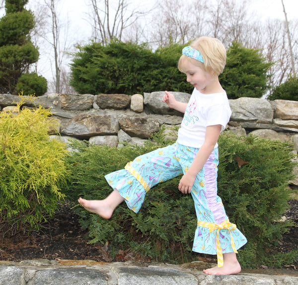 Sale! Carnival Girls Ruched Ruffle Pants & Headband PDF Sewing Pattern