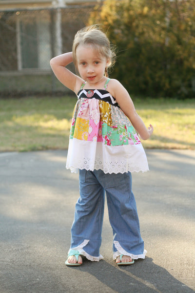New! Roller Coaster Swooping Ruffle Pants Girls PDF Sewing Pattern
