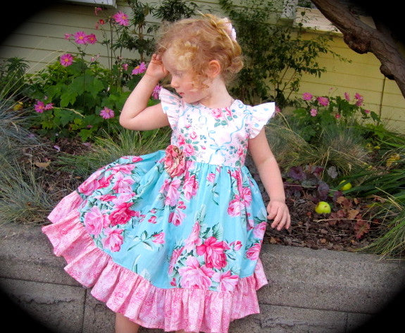 Antique Fair Flutter Sleeve Classic Girls Dress PDF Sewing Pattern