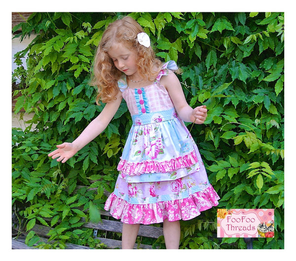 Huckleberry Apron Flutter Girls Top and Dress PDF Sewing Pattern