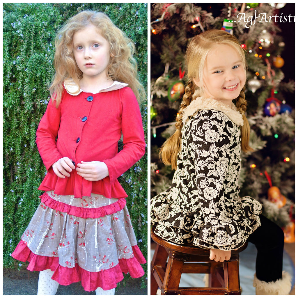 Adeline Knit Ruffled Cardigan Top and Dress Girls PDF Sewing Pattern
