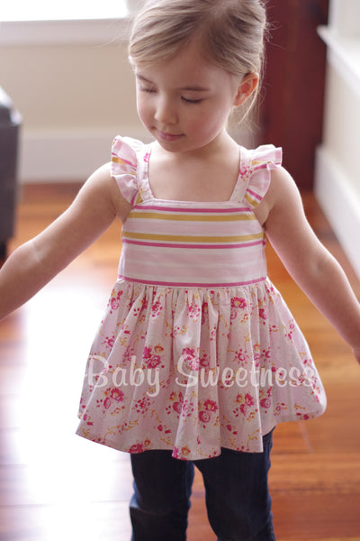 Katy Cross Back Flutter Knot Top & Dress PDF Sewing Pattern