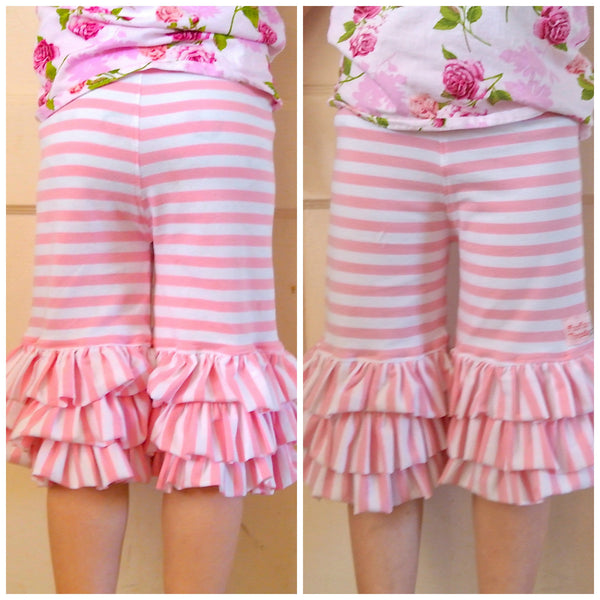 Strawberry Fields Girls Knit Triple Ruffle Capri Pants Knit PDF Sewing Pattern
