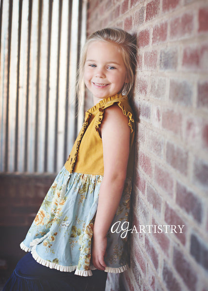 Cinnamon Sugar Double Breasted Girls Top & Dress PDF Sewing Pattern