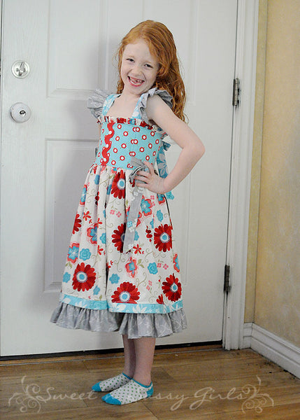 Cindy Lou Girl's Flutter Strap Reverse Knot Dress w/ Side Ties PDF Sewing Pattern