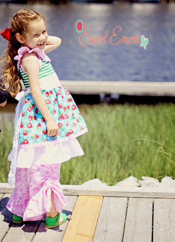 Sale! Apple Blossom Drawstring Ruched Girls Pants PDF Sewing Pattern