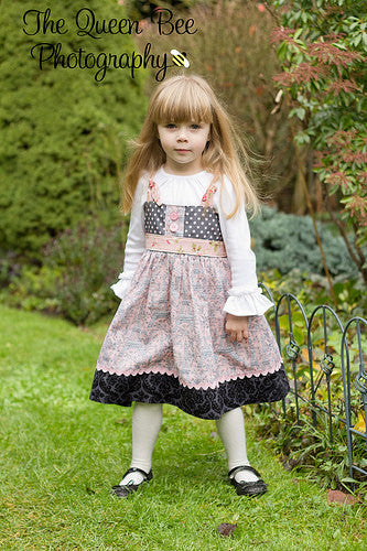 Easy No Buttonhole Knot Girls Dress PDF Sewing Pattern