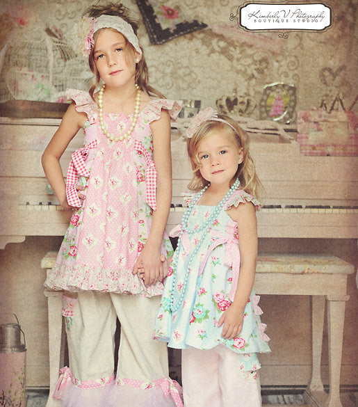 Sparrow Flutter Strap Girls Top and Dress w Side Ties PDF Sewing Pattern