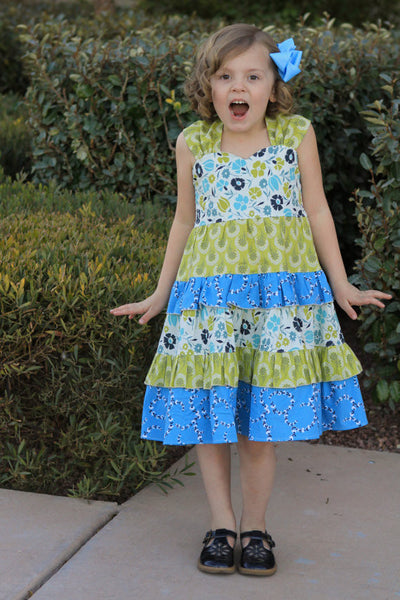 Juliette Sweetheart Reverse Knot Tiered Girls Dress PDF Sewing Pattern
