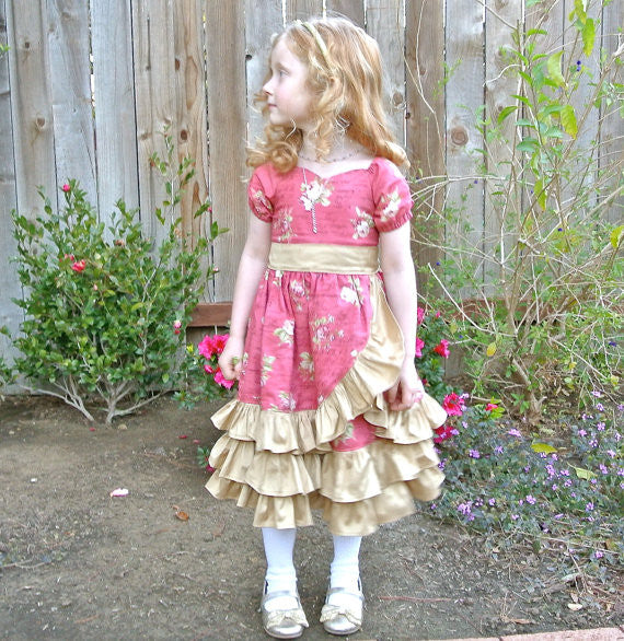 Victorian Romance Sweetheart Wrap Dress Girls PDF Sewing Pattern
