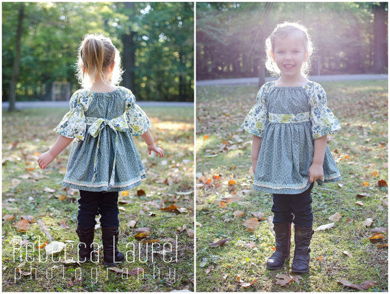 Easy Girls Peasant Top, Tunic or Dress PDF Sewing Pattern