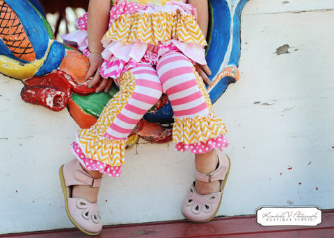 Ruched Ruffled Leggings Girls PDF Sewing Pattern