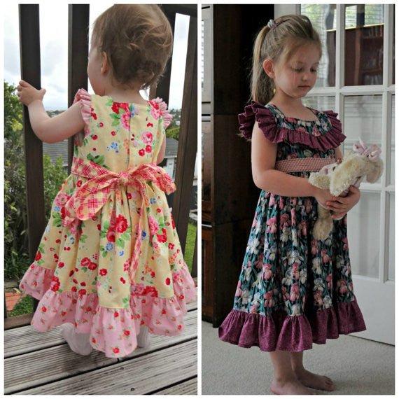 Betty Lou Girls Retro Ruffle Bodice Dress PDF Sewing Pattern