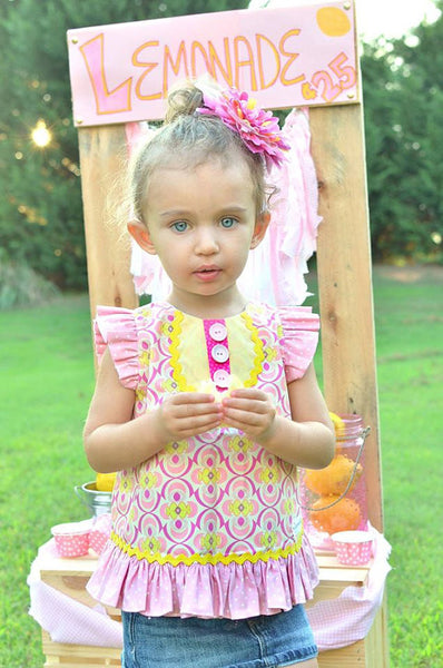 Pink Lemonade Flutter Top Girls PDF Sewing Pattern