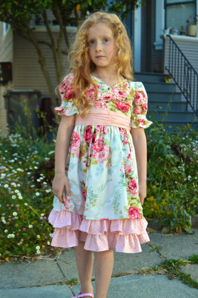 Bygone Rose Girls Victorian Style Ruffled Dress PDF Sewing Pattern